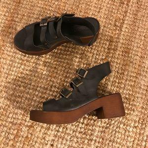 Faux leather multi strap sandals